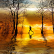 Stock Photo: Silhouette of man running at sunset