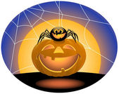 Spider and Jack O ' Lantern — Stok Vektör
