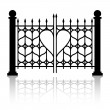 Forged gate of love — Vector de stock #18185725