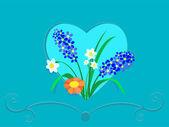 Fleurs dans un cadre de coeur — Vecteur