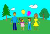 Lycklig familj — Stockvektor
