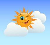 Sole ammiccante — Vettoriale Stock