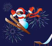 Muñeco de nieve y fuegos artificiales — Vector de stock