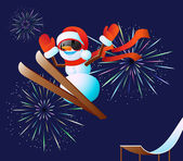 Snowman and fireworks — Stockvector