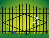 Gate and flowers. — Stock Vector