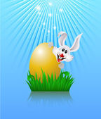 Bunny and easter egg. — Vector de stock