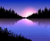 Landschap met zonsondergang — Stockvector