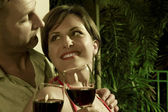 Portrait on nice couple having good time in tropic environment — Stock Photo