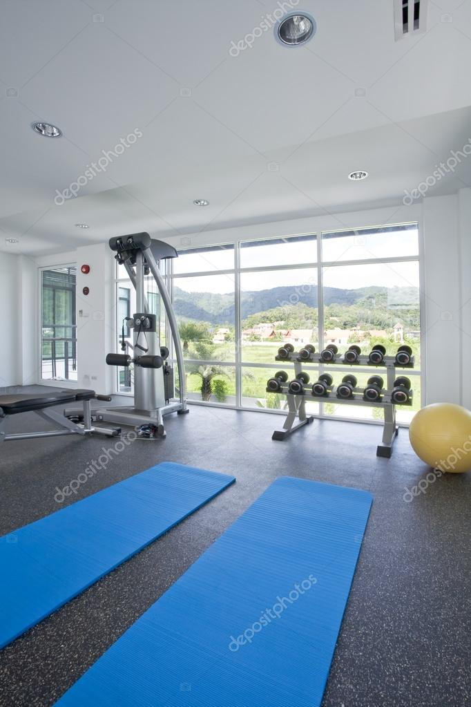 Panoramic view of modern style gym interior  — Stock Photo #12621127