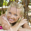 Portrait of young pretty woman in summer environment — Stock Photo