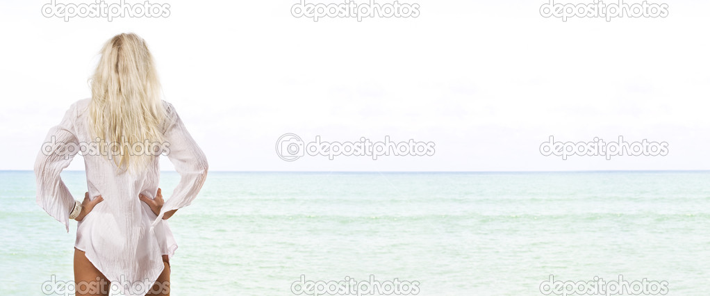 Portrait of beautiful girl having good time on tropical beach  Foto Stock #13202639