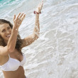 View of nice woman  having fun in summer environment - Foto Stock