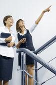 Portret van jonge mooie vrouwen met gesprek in kantooromgeving — Stockfoto