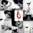 Black and white wine drinking theme photo collage — Foto Stock