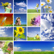 Summertime theme photo collage composed of few images - Stockfoto