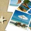 Tropic beach theme collage composed of few photos — Stock Photo