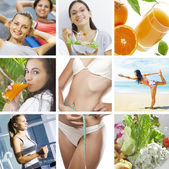 Beautiful healthy lifestyle theme collage made from few photographs — Stock Photo