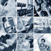 Fitness theme black and white photo collage composed of few images — Stock Photo