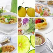 Еда и напитки тему коллажа состоит из нескольких изображений — Стоковое фото