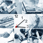 Business theme photo collage composed of few images — Stock Photo