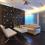 Panoramic view of nice modern stylish saloon lobby interior — Stock Photo