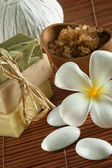 Close up view of spa theme objects on color back — Stock Photo