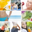 Healthy lifestyle theme collage composed of few photos — Stock Photo