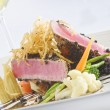 Close up view of nice delicious meal on white back — Stock Photo