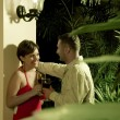 Portrait on nice couple having good time in tropic environment - Foto Stock