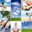 Yoga theme collage composed of different images — Stock Photo