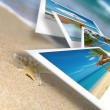 Tropic beach theme collage composed of few photos - 图库照片