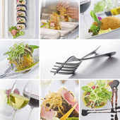 Food and drink theme photo collage composed of few images — Stock Photo