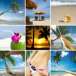 Summertime theme photo collage composed of few images - 图库照片
