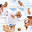 Couple on the beach mix composed of a few images — Stok fotoğraf