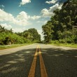 Panoramic view of nice empty road in summer environment - Foto Stock