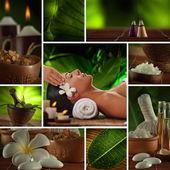 Collage de fotos tema spa compuesto por diversas imágenes — Foto de Stock