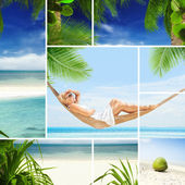 View of nice young lady swinging in hummock on tropical beach — Stock Photo