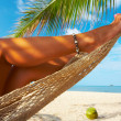 View of nice smooth womans legs in tropical bliss — Stock Photo #25907711