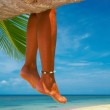View of nice smooth womans legs hanging from the palm — Stock Photo