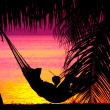 View of a woman lounging in hammock during sunset — Stock Photo #25908431