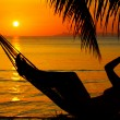 Stock Photo: View of a woman lounging in hammock during sunset