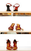 View of a pairs of nice woman shoes are waiting for their owner in showcase — Stock Photo