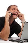 Vista di qualche uomo d'affari molto gioiosa conversazione — Foto Stock