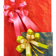 View of two boxes with presents on white sheet — Stok fotoğraf