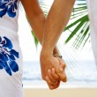 View of mans and womans hands holding together tight — Stock Photo