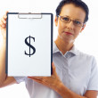 Stock Photo: Portrait of businesswomin stylish glasses with clipboard on white back