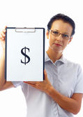 Portrait of businesswoman in stylish glasses with clipboard on white back — Stock Photo