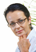 Portrait of businesswoman in stylish glasses on white back — Stock Photo