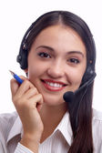 View of nice young woman operator at her working place — Stock Photo