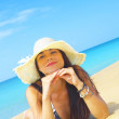 Portrait of a young gorgeous female in tropical environment — Stock Photo